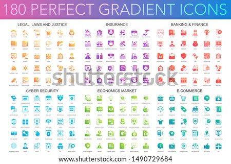 180 trendy perfect gradient icons set of legal, laws and justice, insurance, banking finance, cyber security, economics market, e-commerce.