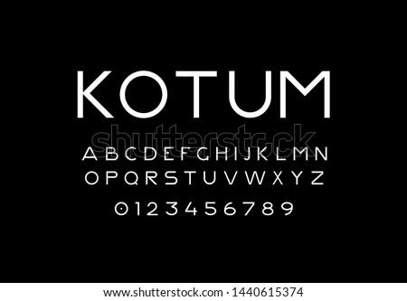 Trendy slim font. Minimalistic light alphabet. Decorative sans serif typeface. Use it for text and lettering. Vector font. Vector Illustration. EPS 10