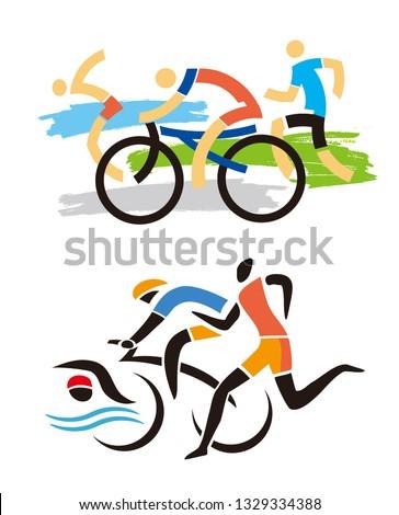 triathlon race  runner