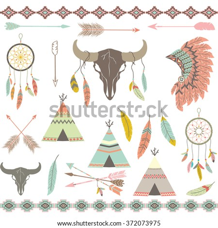 tribal decorative elements set....