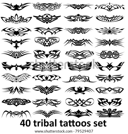 40 tribal tattoo set