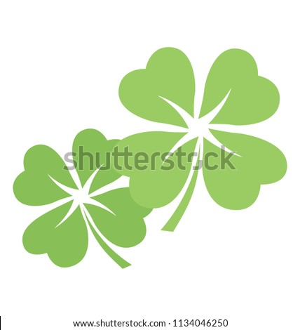 Trifoliate leaflets in three are making icon for shamrock flowers