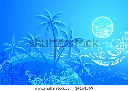 tropic beach night vector