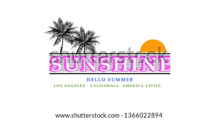 Tropical Graphic. Summer Graphic. Palm trees. Lettering ' Sunshine' Vector Illustration. Apparel Print - Vektör