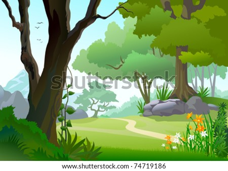 TROPICAL  RAIN FOREST TREES AND LONELY PATHWAY - stock vector