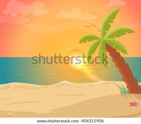 tropical sea island with palm