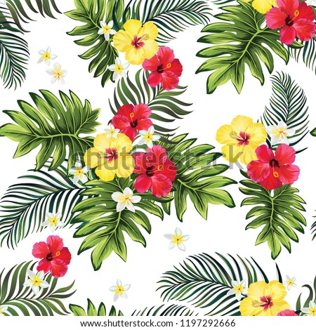 Tropical vector seamless background. Jungle pattern with flowers, monstera and palm leaves. Stock vector.
