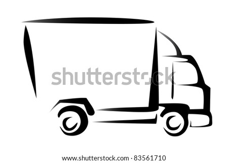 truck, cargo, delivery concept, illustration in simple lines