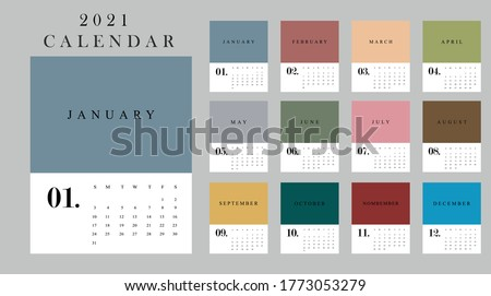 2021 Twelve months new year calendar for wall and desk