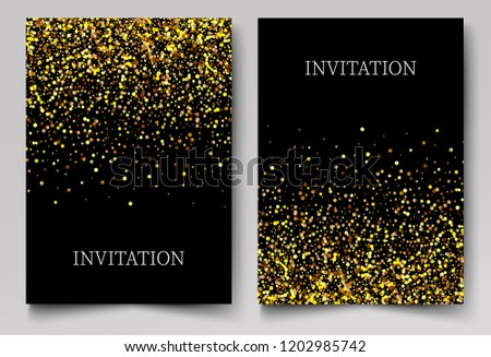 Two black invitations backgrounds with bright gold glitter particles. Vector Abstract background