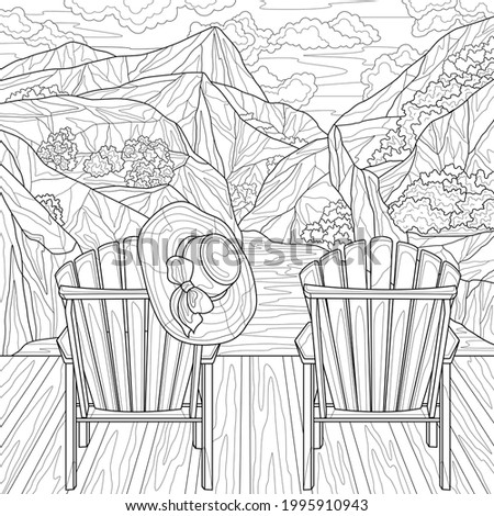 two chairs and mountains