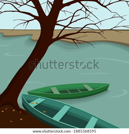 two fishing boats on the lake