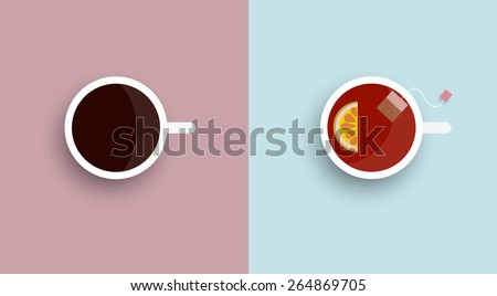 two icons stylised cup tea and
