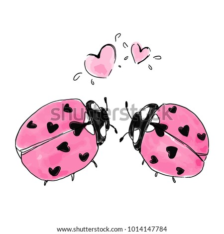 Two ladybirds with hearts. Valentine design. Hand drawn vector watercolor elements isolated.