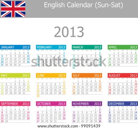 2013 Type-1 English Vector Calendar Sun-Sat on white background