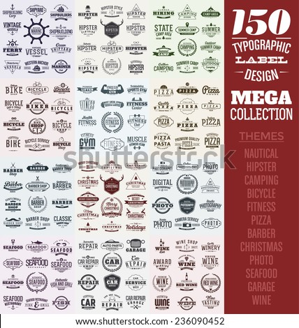 150 Typographic Label Design Set - Mega Collection