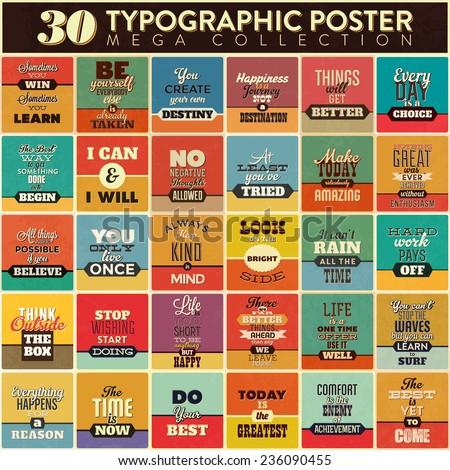 30 typographic poster set