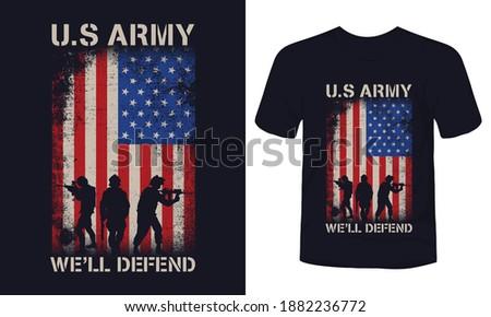 'U.S Army we'll defend' print t-shirt vector. Stock fotó ©