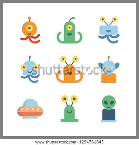 9 ufo icon. Vector illustration ufo set. alien and ufo icons for ufo works