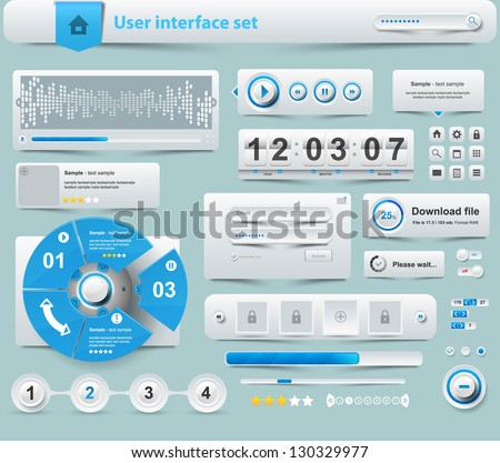 UI Elements Design white, Web site design