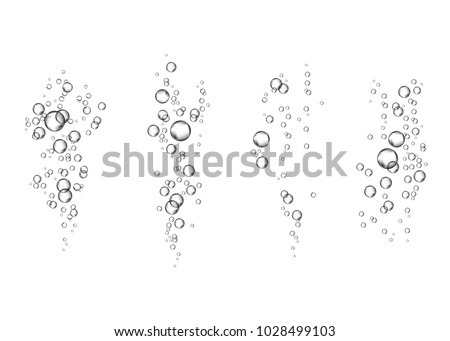 Underwater fizzing air bubbles flow on white  background. Fizzy sparkles in water, sea, aquarium. Soda pop. Champagne. Effervescent drink. Undersea vector texture.