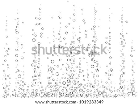Underwater fizzing air bubbles on white  background. Champagne. Realistic 3d fizzy drink. Soda pop. Undersea vector texture.