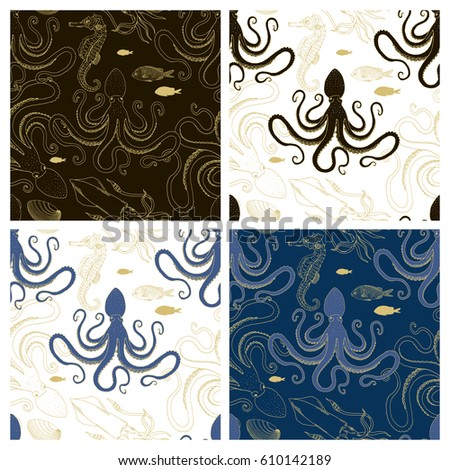 underwater graphic seamless pattern - Shutterstock ID 610142189