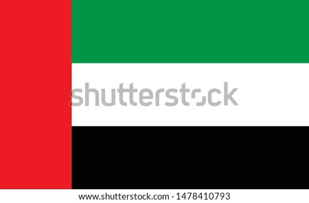 United arab emirates flag. Simple vector. National flag of United arab emirates