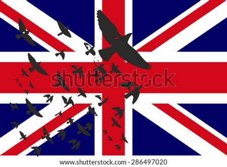 united kingdom flag and eagle