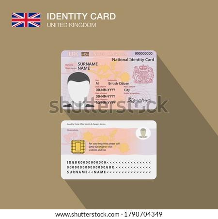 United Kingdom national identity card. Flat vector illustration template. Great Britain.