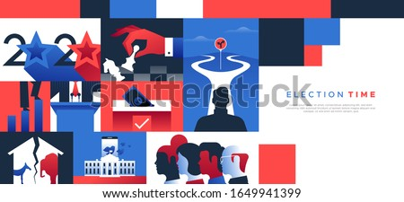 2020 United States politics web template illustration with copy space for special presidential event. Modern flat design background includes diverse political campaign and social concepts.  Сток-фото ©
