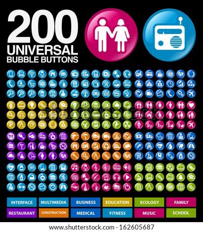 200 Universal bubble Buttons.