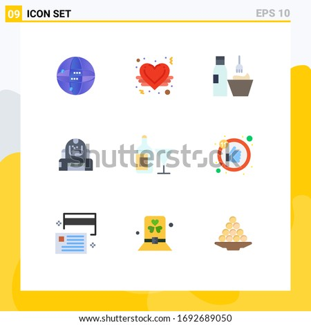 9 Universal Flat Color Signs Symbols of protection; explorer; cosmetics; cosmonaut; makeup accessories Editable Vector Design Elements