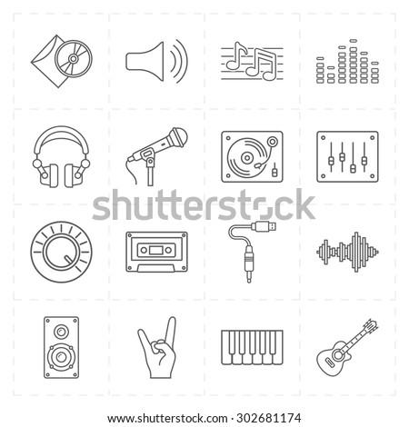 16 universal flat music icons