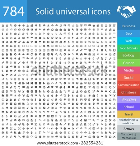 784 universal icons: business, finance, web, computer, shopping, social, travel, school, medicine, fitness, food, transportation, office, ecology, seo, christmas, mobile, arrows,auto,garden,technology