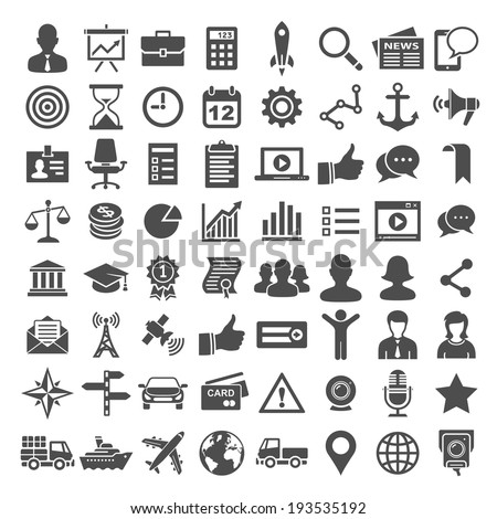 64 Universal Icons. Business, financial and social icons. Simplus series
