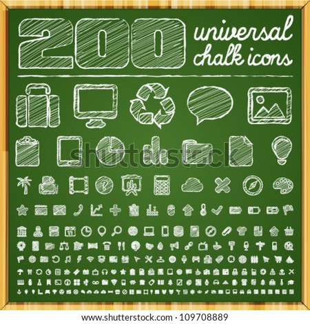 200 Universal Icons in chalk doodle style