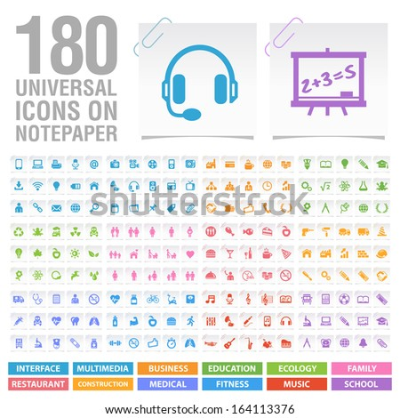 180 Universal Icons on Notepaper.