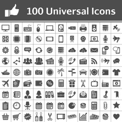 100 Universal Icons. Simplus series. Each icon is a single object (compound path)