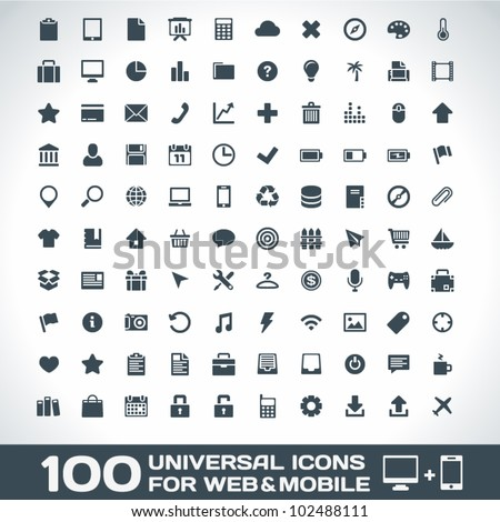 100 universal outline icons for
