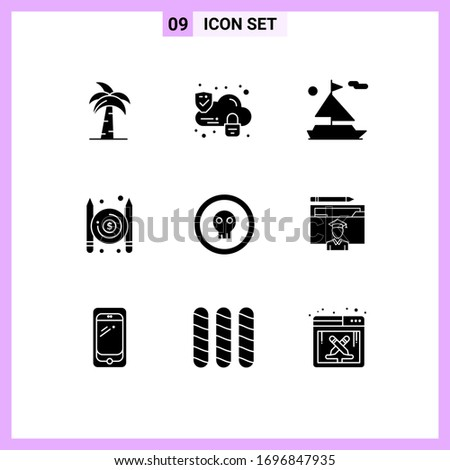 9 Universal Solid Glyph Signs Symbols of coin; pay; lock; paid; ship Editable Vector Design Elements