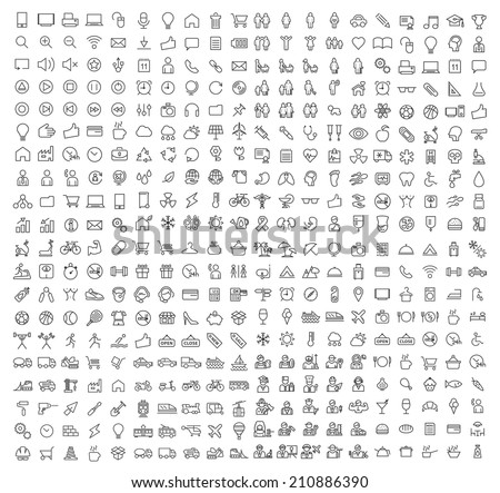 400 Universal Thin Line Black Icons on White Background ( Business , Multimedia, Education, Ecology, Medical, Fitness, Family, Construction, Transport, Professions, Travel, Restaurant, Hotel )