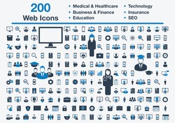 200 Universal Web Icons including Medical and Healthcare, Business, Finance, Insurance, Technology, Education, SEO Sign. Editable Vector EPS Symbol Illustration.