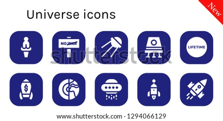 universe icon set. 10 filled universe icons. Simple modern icons about  - Venus, War, Sputnik, Space capsule, Lifetime, Rocket, Planet, Ufo