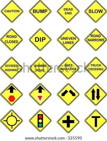 20 US Road Warning Signs
