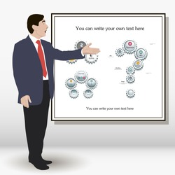 Used for any performances scientific reports. Student doing a research report on the economy. Speech with gestures aimed at whiteboard. infograph, Oratory. Image. Vector. Icon.