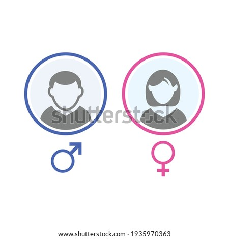 User avatar. male and female face isolated on white background Stockfoto ©