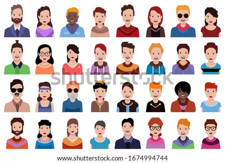 User avatars, avatars with faces and heads for social network ( Male and female faces )