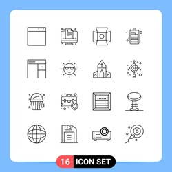 16 User Interface Outline Pack of modern Signs and Symbols of ecology; interior; photography; furniture; electric Editable Vector Design Elements