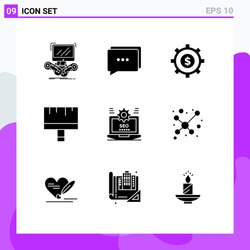 9 User Interface Solid Glyph Pack of modern Signs and Symbols of web; seo; budget; tools; brush Editable Vector Design Elements
